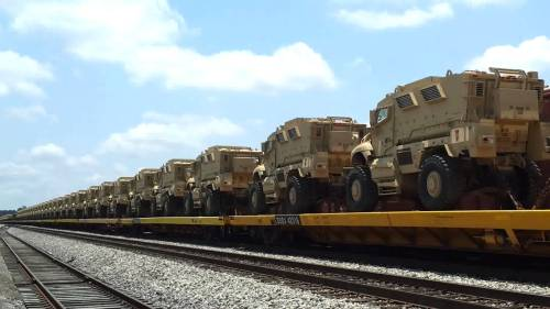 Military Vehicles on Train